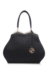 Segolene Paris Woven Vegan Leather Satchel Black
