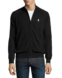 Psycho Bunny Knit Zip Front Sweater Black