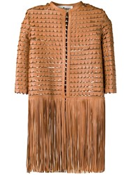 Caban Romantic Leather Embroidered Coat With Fringes Brown