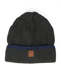 Knowledge Cotton Apparel Khaki Cable Knit Hat With Blue Trim