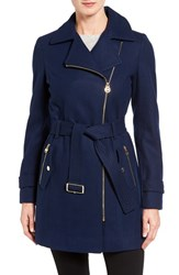 Michael Michael Kors Women's Belted Asymmetrical Wool Blend Coat Sapphire