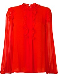 Giambattista Valli Ruffle Detail Blouse Red