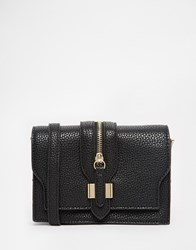 Liquorish Mini Cross Body Bag With Zip Detail Black