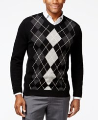 Club Room Big And Tall Cashmere Argyle V Neck Sweater Only At Macy's Deep Black