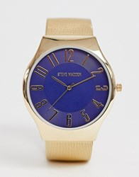 Steve Madden Mesh Watch With Blue Dial Gold