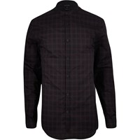 River Island Mens Dark Purple Check Grandad Longline Shirt