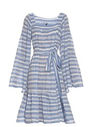 Lisa Marie Fernandez Square Neck Striped Cotton Blend Dress Blue Stripe
