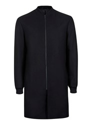 Topman Black Wool Rich Longline Formal Bomber Jacket