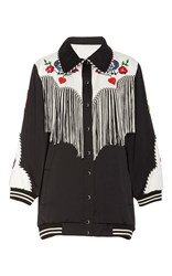 Anna Sui Cowgirl Embroidered Satin Jacket Black