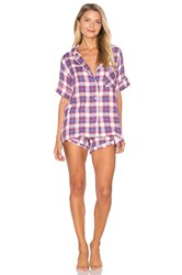 Plush Ultra Soft Plaid Pj Set Blue
