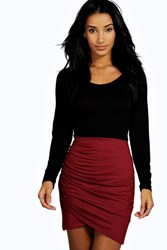 Boohoo Rouched Wrap Mini Skirt Berry