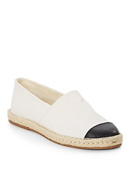 Saks Fifth Avenue Blue Bree Leather Toe Canvas Espadrilles White