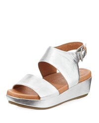Gentle Souls Lori Metallic Leather Comfort Wedge Sandal Silver