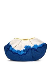 Kilometre Paris Sandolo Essaouira Embroidered Dip Dye Clutch Blue Multi
