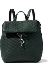 Rebecca Minkoff Woman Edie Quilted Textured Leather Backpack Dark Green