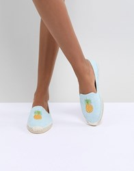 South Beach Pineapple Embroidered Espadrilles Blue