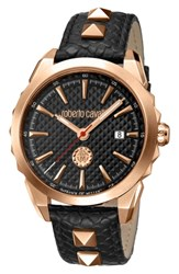 Roberto Cavalli By Franck Muller Costellato Leather Strap Watch Black Rose Gold Black