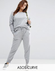 Asos Curve Track Pant With Step Hem Grey Marl