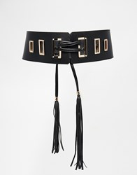 Asos Waist Belt With Tassel Tie Detail And Square Eyelets Black