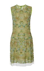 Naeem Khan Floral Scroll Embroidered Cocktail Dress Green