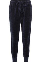 The Upside Jackie Cotton Blend Velour Track Pants Navy