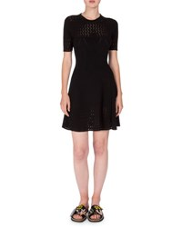 Kenzo Short Sleeve Scalloped Fit And Flare Dress Black