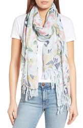 Nordstrom Women's Fauvist Forest Scarf Blue Combo
