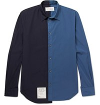 Maison Martin Margiela Two Tone Washed Cotton Poplin Shirt Navy