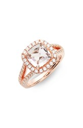 Lafonn Cushion Cut Halo Ring Rose Gold Pink Clear