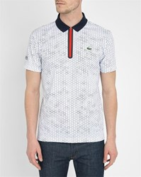 Lacoste White Technical Sport Fabric Print All Over Zip Neck Polo Shirt