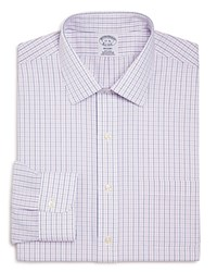 Brooks Brothers Alternating Grid Check Classic Fit Dress Shirt Navy Pink