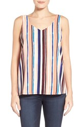 Women's Halogen Double V Neck Shell Coral Blue Stripe