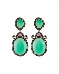 Bavna Chrysoprase Tourmaline And Diamond Drop Earrings