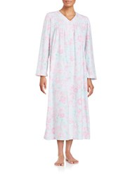 Miss Elaine Fleece Floral Print Long Nightgown Pink Floral