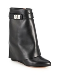 Givenchy Shark Lock Leather Pants Mid Calf Wedge Boots Black Beige