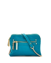 Neiman Marcus Faux Leather Crossbody Bag Teal