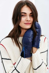 Urban Outfitters Quilted Zip Leather Puffer Mitten Navy