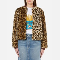 Ganni Women's Ferris Faux Fur Jacket Leopard Multi