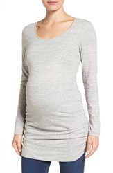 Tart Maternity Women's 'Abbi' Ruched Tunic Melange Grey
