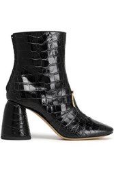 Ellery Croc Effect Leather Ankle Boots Black