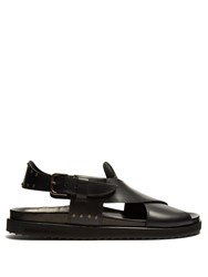 Alexander Mcqueen Crossover Leather Sandals Black