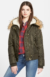 Guess Hooded Satin Bomber Jacket With Faux Fur Trim And Faux Shearling Lining Olive