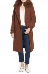 Trina Turk London Genuine Fox Fur Trim Long Coat Mocha
