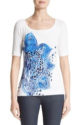 St. John Women's Collection Lotus Blossom Print Jersey Tee
