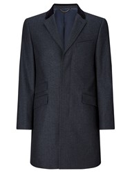 John Lewis Herringbone Covert Tailored Overcoat Navy
