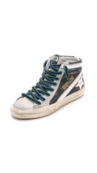 Golden Goose Slide High Top Sneakers Beige Black Glitter