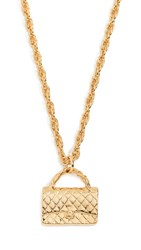 Wgaca What Goes Around Comes Around Chanel Flapbag Necklace Yellow Gold
