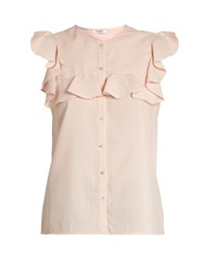 Vilshenko Layla Striped Silk And Cotton Blend Top Pink Stripe