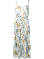 Vince Floral Pleated Dress Blue
