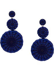 Mignonne Gavigan Embroidered Circle Earrings Blue